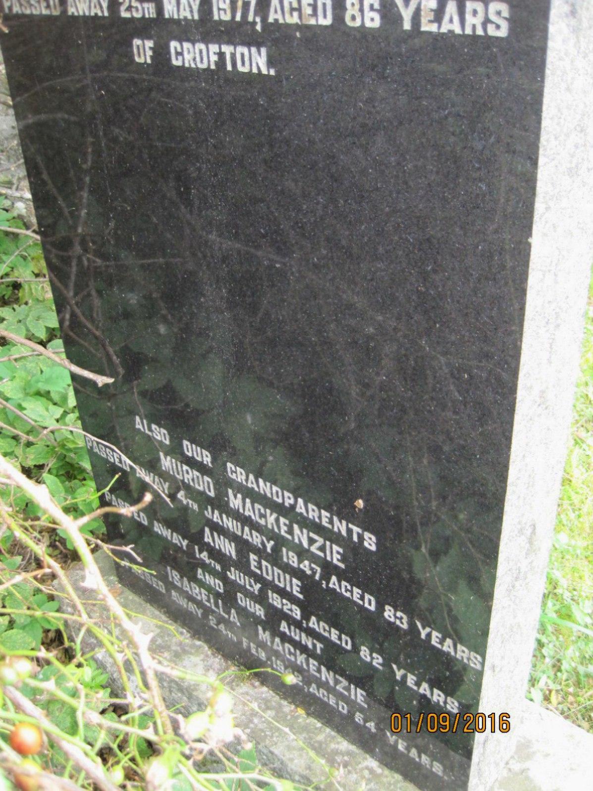 Murdo Mackenzie 1937, Ann Eddie 1929